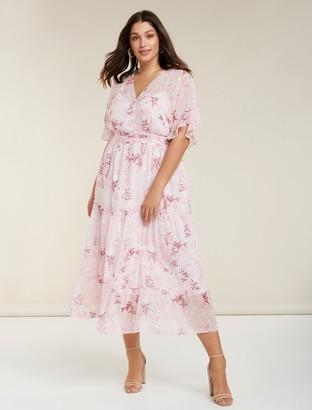 Forever New Tara Curve Tiered Maxi Dress - BLUSH SUNSET - 16