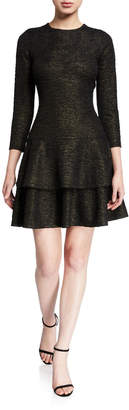 MICHAEL Michael Kors Shimmer 3/4-Sleeve Double Tiered Dress