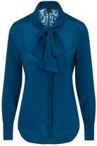 Sophie Cameron Davies Teal Silk Bow Blouse