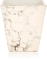 Pacific Connections Carrara Marbled Wooden Wastebasket-CREAM, NO COLOR