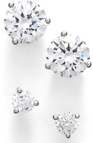 Nordstrom Women's Precious Metal Plated 0.50Ct Tw And 2Ct Tw Cubic Zirconia Stud Earrings (Set Of 2)