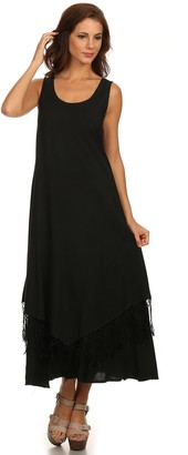 Sakkas 15222 - Emma Relaxed Fit Scoop Neck Double Layered with Fringe Tank Dress - Black - L/XL