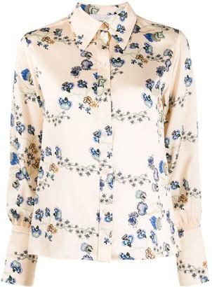 Chloé Floral Print Silk Long Sleeve Shirt