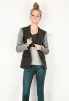 Washed Leather Blazer in Jet/Grey - by Cut 25