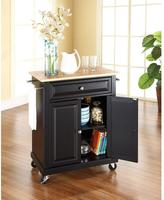 Crosley 28-1/4 in. W Natural Wood Top Mobile Kitchen Island Cart in Black