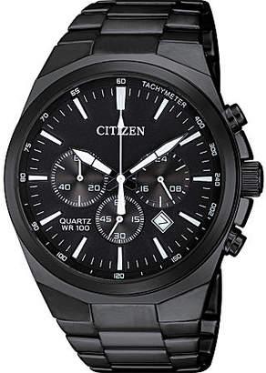 Citizen Quartz Mens Black Stainless Steel Bracelet Watch-An8175-55e Family