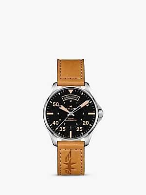 Hamilton H64645531 Men's Khaki Pilot Day Date Automatic Leather Strap Watch, Tan/Black