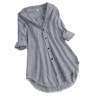 TWIFER Women Chic Stripe Long Sleeve Turn-Down Collar Button Loose Top Shirts Blouse Pullover Casual Comfy Soft Solid Slouchy Tunic (Sky Blue UK-12/CN-S)