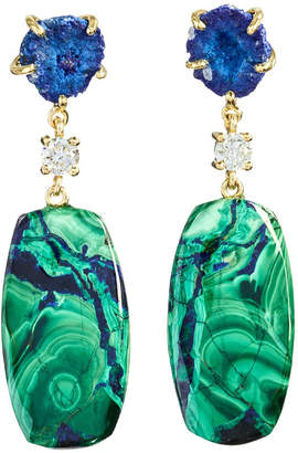 Jan Leslie 18k Bespoke 2-Tier Tribal Luxury Earrings w/ Azurite Geode, Azurite Malachite & Diamonds