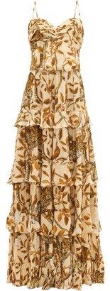 Johanna Ortiz All I've Ever Known Jaguar-print Silk Gown - Cream Print