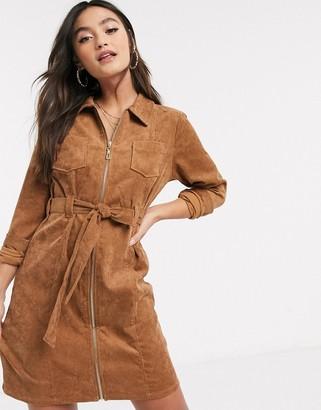 Qed London cord zip through dress in tan