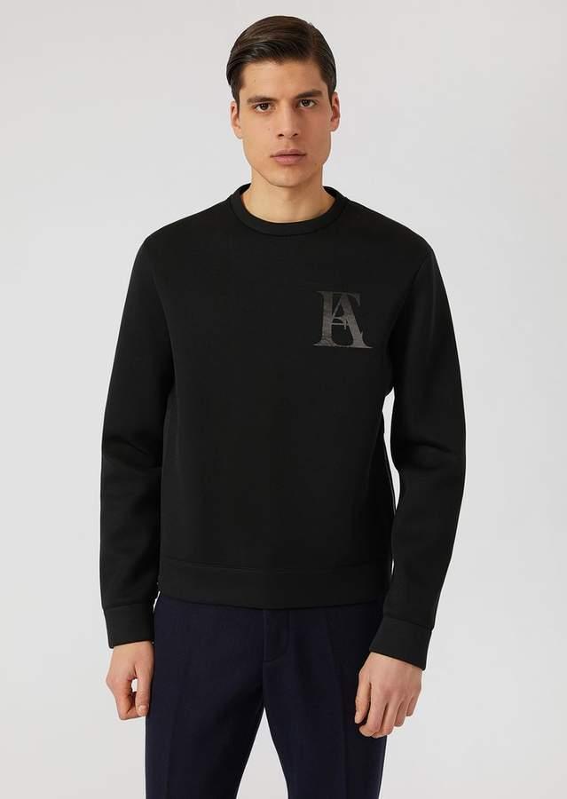 Emporio Armani Lightweight Neoprene Sweatshirt With Logo Detail
