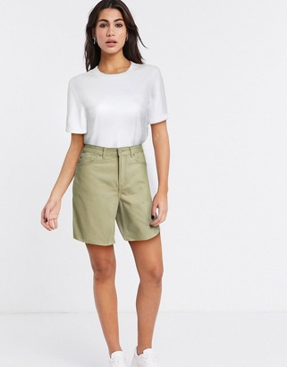 Dr. Denim Meja high rise a line denim short in khaki