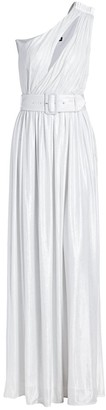 retrofete Andrea Belted One-Shoulder Metallic Maxi Dress