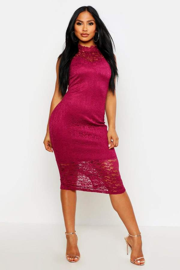 boohoo Boutique Lace High Neck Bodycon Midi Dress