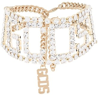 GCDS Logo Crystal-Embellished Choker