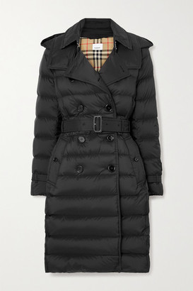 Burberry Net Sustain Belted Hooded Quilted Shell Down Coat - Black