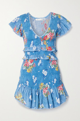 LoveShackFancy Sonora Ruffled Shirred Floral-print Cotton-voile Mini Dress - Blue