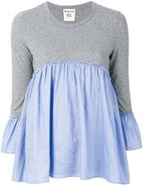 Semi-Couture Semicouture pleated trim T-shirt