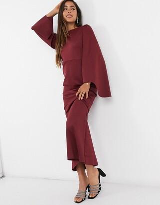 ASOS DESIGN fluted long sleeve maxi dress in mink
