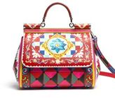 Dolce & Gabbana Sicily Medium Tile-Print Textured Leather Top-Handle Satchel
