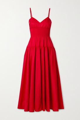 La Ligne Smocked Cotton-poplin Midi Dress - Red