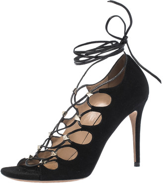Valentino Black Suede Rockstud Open Toe Lace Up Ankle Wrap Sandals Size 37