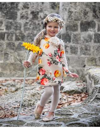 Mia Belle Baby Taupe Floral Print Long Sleeve Lace Patch Sleeve Tunic & Matching Leggings Set (Toddler & Little Girls)