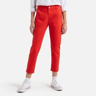 Vero Moda Cotton Ankle Grazer Trousers in Slim Fit
