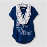 Self Esteem Girls' Short Sleeve Scarf Top - Blue Print