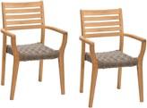 John Lewis & Partners Longstock Woven Stacking Garden Dining Armchairs, Set of 2, FSC-Certified (Teak Wood), Rattan/Natural