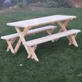 Loon Peak Handanyan Pine Cross-leg Picnic Table with 2 Benches
