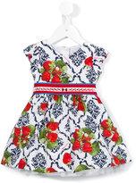 MonnaLisa strawberry print dress - kids - Cotton/Polyamide - 6 mth