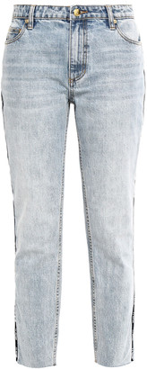 P.E Nation Driver Cropped Printed High-rise Slim-leg Jeans