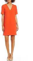 Adrianna Papell Textured Woven Tucked Sleeve Shift Dress