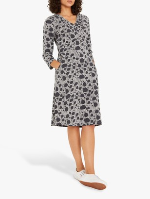 White Stuff Morie Abstract Print Knee Length Dress, Charcoal
