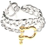 Wouters & Hendrix Women's 925 Sterling Silver and Gold Plated Statement Bracelet of 19 cm