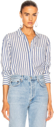 Nili Lotan NL Shirt in Blue & White Stripe | FWRD