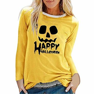 jieGorge Blouses for Women Elegant Women's Halloween Funny Face Printed Round Neck Pullover Tops