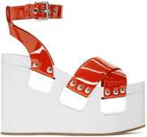 Miu Miu Red and White Wedge Sandals