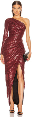 Rasario for FWRD One Shoulder Draped Sequin Gown in Burgundy | FWRD