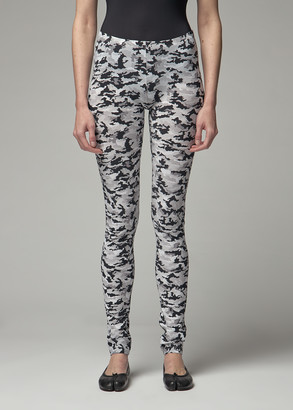 MM6 MAISON MARGIELA Women's Camo Legging in Black/White Size Small Polyamide/Elastane
