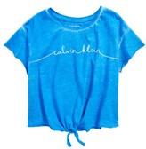 Calvin Klein Girl's Logo Raw Edge Tie Front Tee
