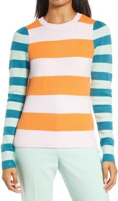Halogen x Atlantic-Pacific Mix Stripe Puff Sleeve Sweater