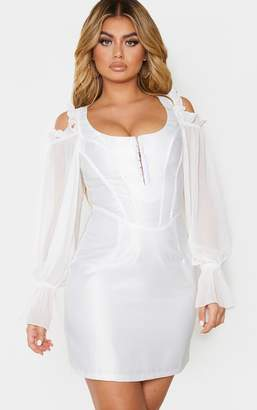 PrettyLittleThing White Satin Mesh Cold Shoulder Corset Detail Bodycon Dress