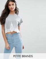 Miss Selfridge Petite Lace Detail Cropped T-Shirt
