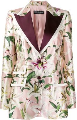 Dolce & Gabbana Lily-Print Single-Breasted Blazer