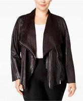 Calvin Klein Plus Size Distressed Flyaway Jacket