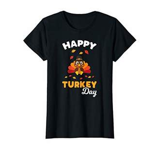 Womens Happy Turkey Day Shirt Funny Gobble Wobble Thankful Pilgrim T-Shirt