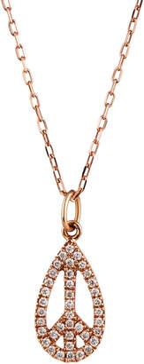 Sydney Evan 14k Rose Gold Diamond Peace Teardrop Necklace